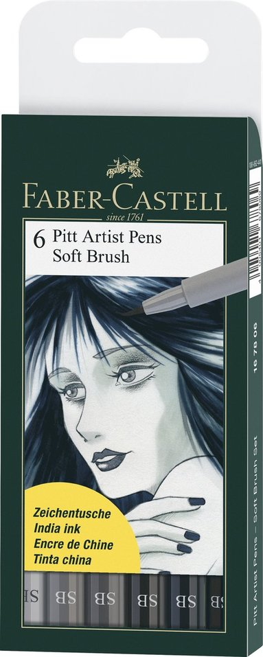 Pennset PITT Artist Pen Soft Brush 6-pack gråton