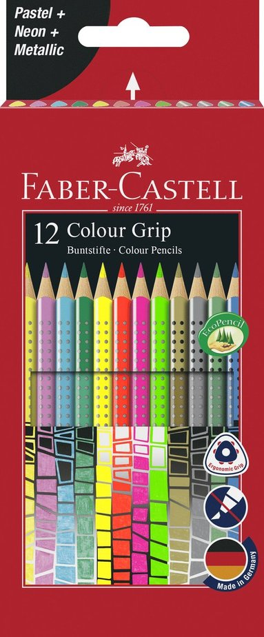 Färgpenna Color Grip  12 färger neon, metallic, pastell