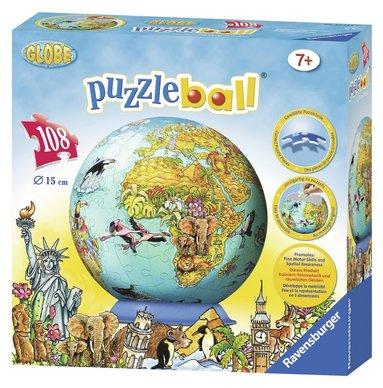 Pusselboll 108 bitar Barnens världskarta 1
