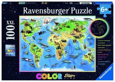 Pussel 100 bitar Colorful Animal World Map självlysande