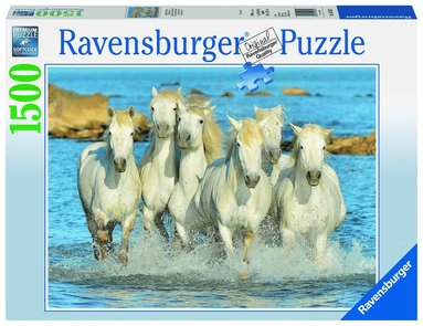 Pussel 1500 bitar Vita hästar