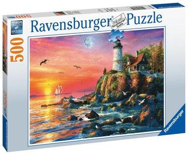 Pussel 500 bitar Lighthouse at Sunset