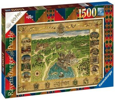 Pussel 1500 bitar Hogwarts Map  1