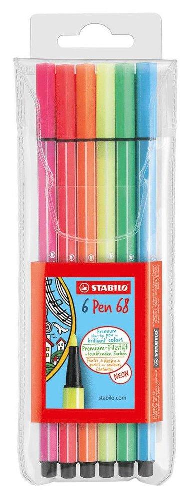 Fiberspetspenna Stabilo Pen 68 neon 6 färger