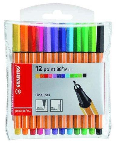 Fiberspetspenna Stabilo Point 88 Mini 12 färger
