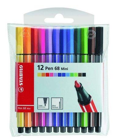 Fiberspetspenna Stabilo Pen 68 Mini 12 färger