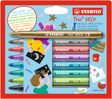 Fiberspetspenna Stabilo Trio DECO Metallic 8 färger