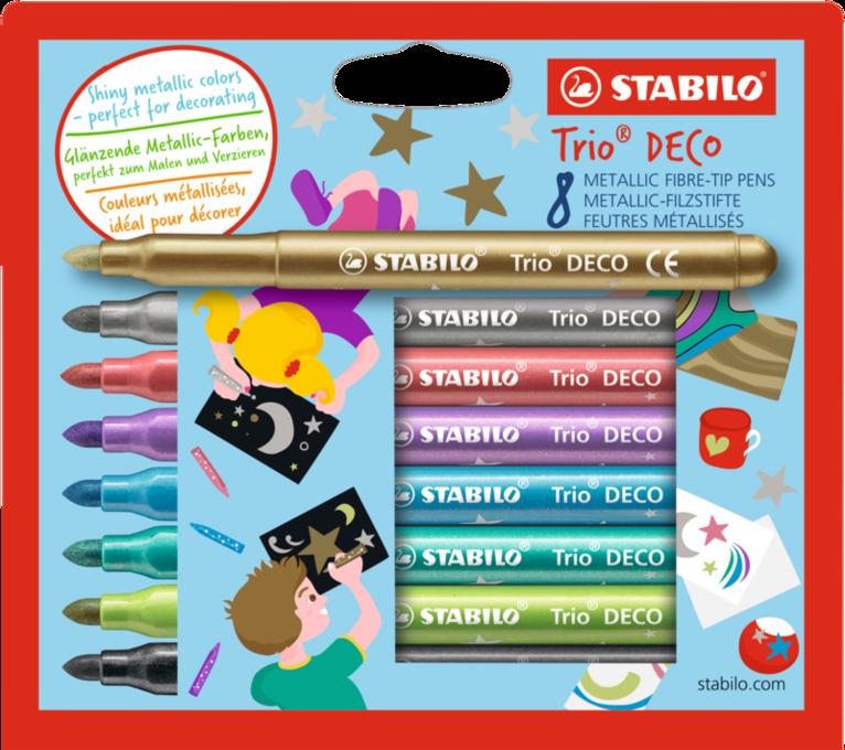 Fiberspetspenna Stabilo Trio DECO Metallic 8 färger 1