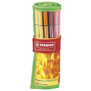 Fiberspetspenna Stabilo Pen 68 i rullfodral 25-pack 1