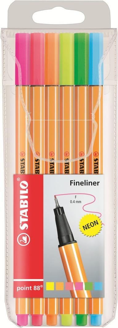 Fiberspetspenna Stabilo Point 88 6 neonfärger