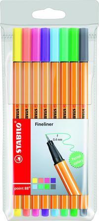 Fiberspetspenna Stabilo Point 88 8 pastellfärger