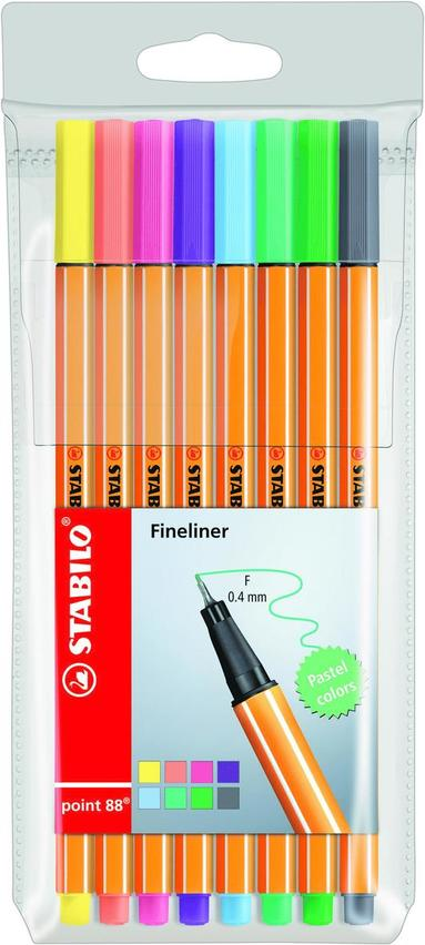 Fiberspetspenna Stabilo Point 88 8-pack pastellfärger