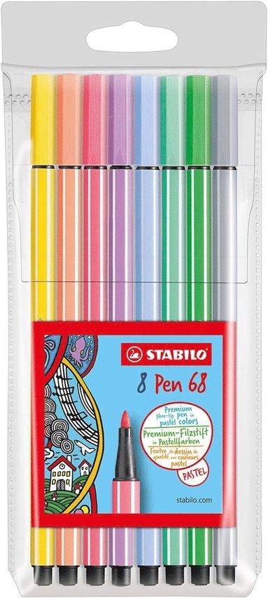 Fiberspetspenna Stabilo Pen 68 pastell 8 färger