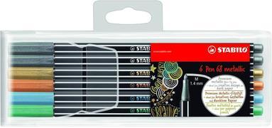 Fiberspetspenna Stabilo Pen 68 metallic 6-pack