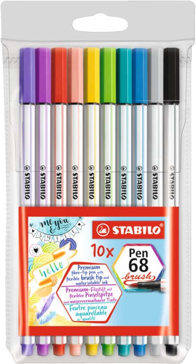 Fiberspetspenna Stabilo PenBrush 68 10 färger