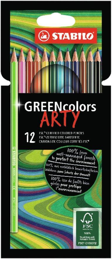 Färgpenna Stabilo Arty GREENcolors 12 färger