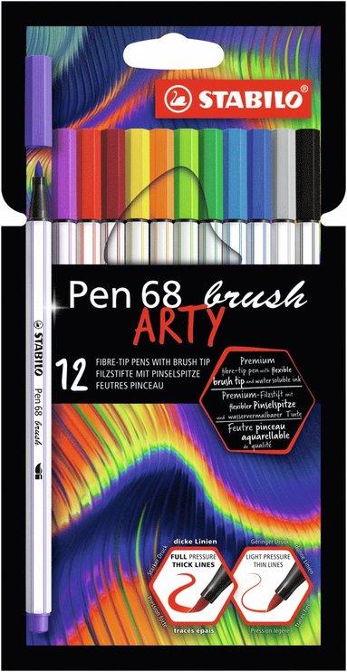 Fiberspetspenna Stabilo Pen68 Brush Arty 12 färger 1