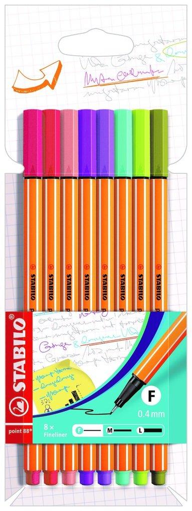Fiberspetspenna Stabilo Point 88 8 pastellfärger trend