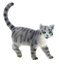 Plastfigur katt randig grå