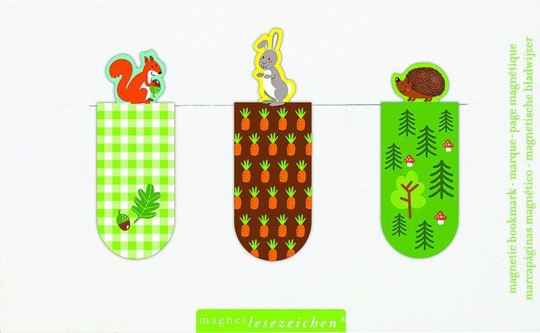 Bokmärke med magnet - djur i skogen 1