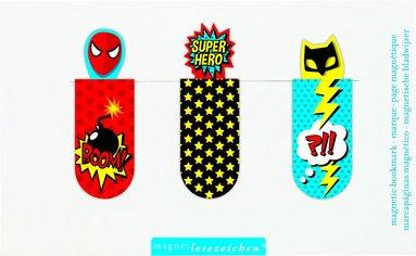 Bokmärke magnet - superhjältar