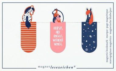 Bokmärke med magnet - hästar