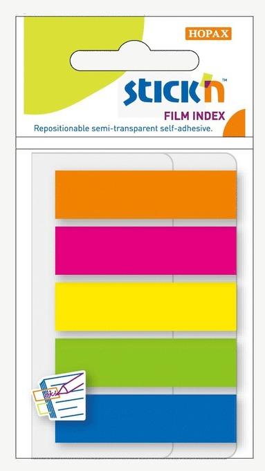 Notisflik Stick'n 45x12mm plast 5 neonfärger