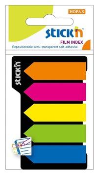 Notisflik 42x12mm Pilar plast 5 neonfärger