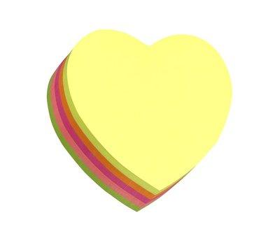 Notisblock Stick'n 67x67mm hjärta 5 neonfärger 1