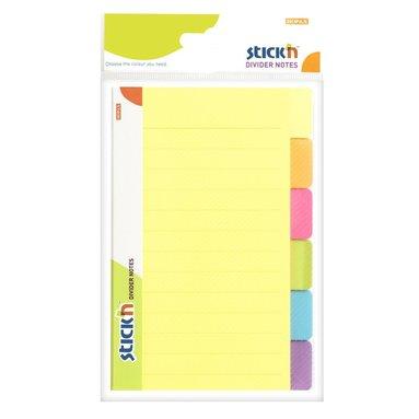 Notisblock Stick'n 149x98mm register 6 neonfärger 1