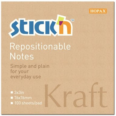 Notisblock Stick'n 76x76mm kraftpapper