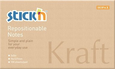 Notisblock Stick'n 76x127mm kraftpapper