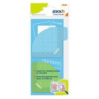 Notisblock 70x70mm Sticky Pocket grön/blå