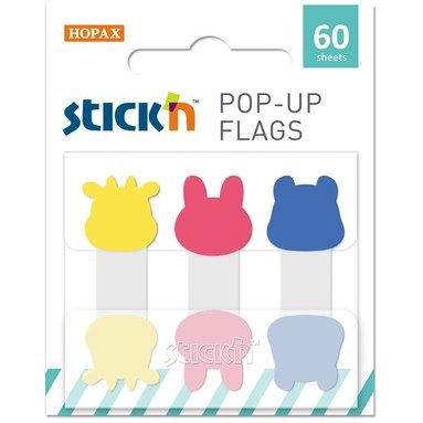 Notisflik Pop-up Animal 3x20blad gul/rosa/blå