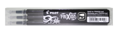 Refill Frixion Ball 0,7 3-pack svart