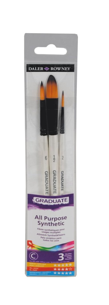 Pensel Graduate syntet 3-pack