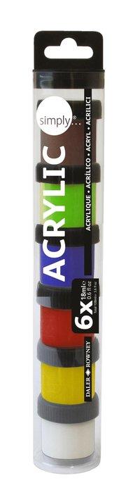 Akrylfärg Simply 18ml 6 färger