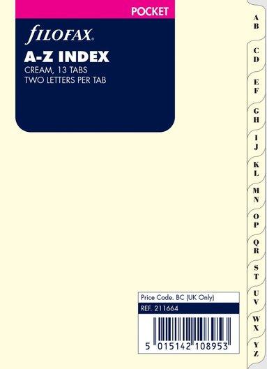 Kalenderdel Register A-Z Filofax creme