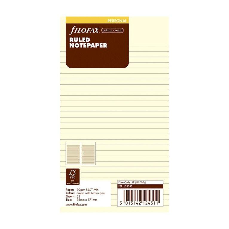 Kalenderdel Filofax Personal anteckningsblad linjerade beige 1