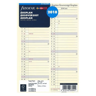 Kalenderdel 2018 Filofax A5 Årsplan nordisk