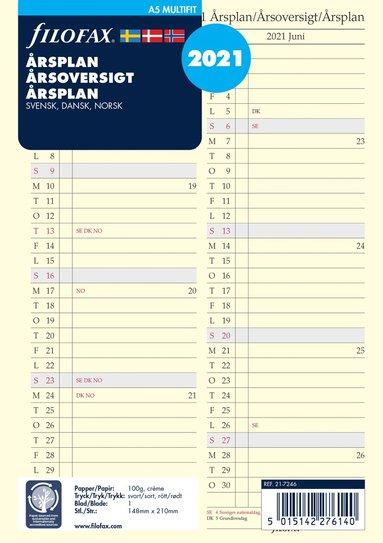 Kalenderdel 2020 Filofax A5 årsplan nordisk