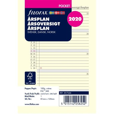 Kalenderdel 2020 Filofax Pocket årsplan nordisk