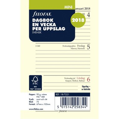 Kalendersats 2018 Filofax Mini Dagbok Vecka/Uppslag