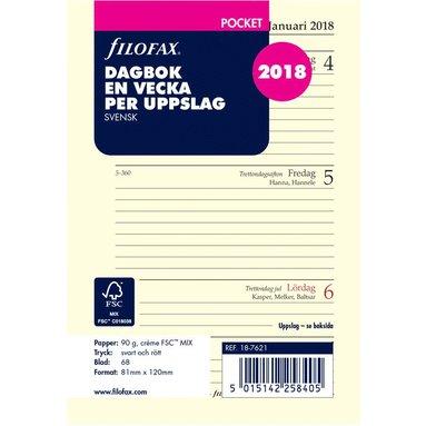 Kalendersats 2018 Filofax Pocket Dagbok Vecka/Uppslag