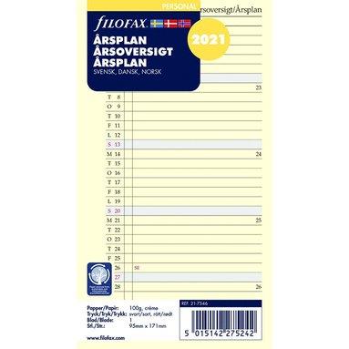 Kalenderdel 2021 Filofax Personal årsplan S/D/N 1