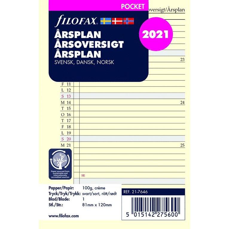 Kalenderdel 2021 Filofax Pocket årsplan S/D/N 1