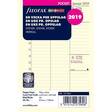 Kalenderdel 2019 Filofax Pocket Dagbok vertikal nordisk
