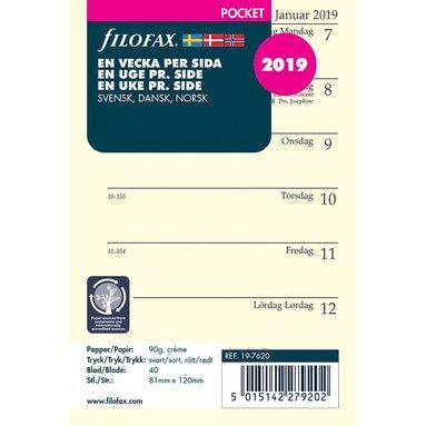 Kalenderdel 2019 Filofax Pocket Dagbok Vecka/Sida nordisk