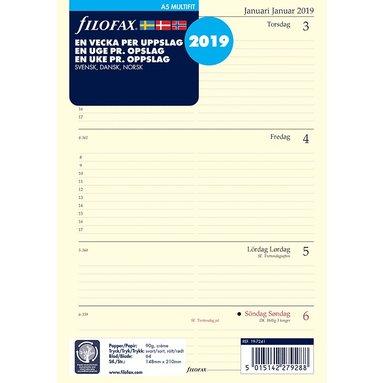 Kalendersats 2019 Filofax A5 Dagbok Vecka/Uppslag S/D/N