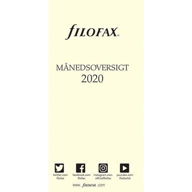 Kalenderdel 2020 Filofax Personal månadsöversikt DK